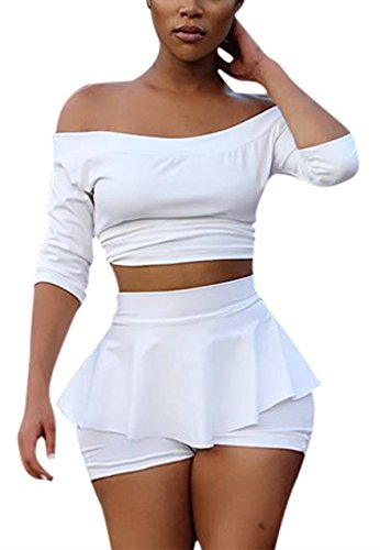 Womens Sexy 2 Pieces Off Shoulder Outfits Bodycon Solid Crop...