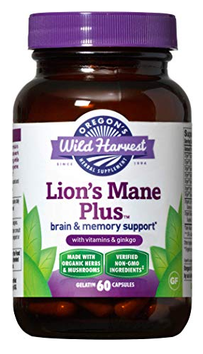 Oregon's Wild Harvest Lion's Mane Plus Brain & Memory Support with Vitamins & Ginkgo, Organic, 60 Count