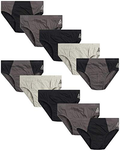 Reebok Men's Low Rise Underwear Briefs (10 Pack), Size Large, Blacks/Greys