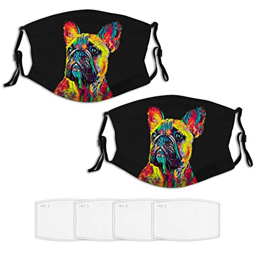 2 Piece Face Mask Set Plus 4 Replaceable Air Filters Cute French Bulldog Washable Reusable Adjustable Black Cloth Bandanas Scarf Neck Gaiters for Adults Men Women Kids