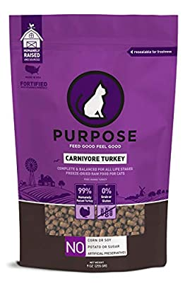 PURPOSE All-Natural Freeze-Dried Carnivore Turkey Morsels Grain-Free Cat Food 9 oz. | Made in The USA