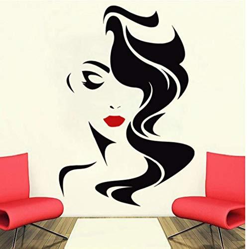 lujiaoshout Labios Rojos Etiqueta de la Pared de la Belleza para la Dama de Vinilo Pegatinas Decoración del hogar Peluquería Peinado Peinado Barberos Etiqueta de la Ventana SL06