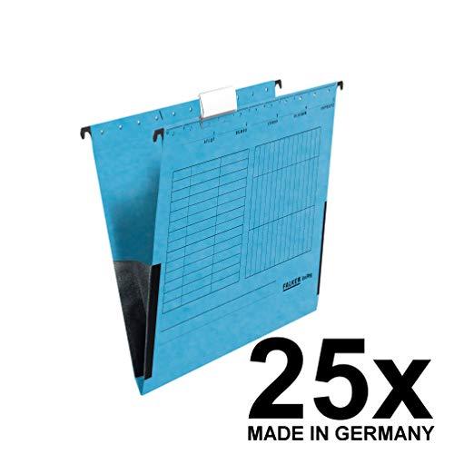 Original Falken 25er Pack Hängetasche UniReg. Made in Germany. Aus Recycling-Karton für DIN A4 mit Leinenfröschen blau Blauer Engel ideal für die lose Blatt-Ablage im Büro und der Behörde