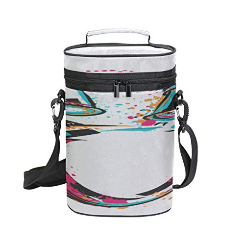 2 Bottle Wine Carrier Drum Kit Splashes Style Colorful Insulated Wine Bottle Carrier Portable Travel Padded Cooler Tote Bag With Shoulder Strap For Picnics And Outdoor