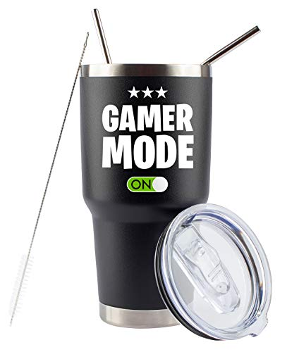 Gamer Gifts for Men - Gamer Mode ON - Stainless Steel Tumbler for Coffee/Cold Drinks w Lid and 2 Straws | Gift Idea Gamer Cup For Fathers Day - Video Gamer Mug Boys (Black, 30 Ounce)