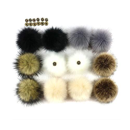Toyvian Fellbommel Faux Fuchspelz Flauschigen Pompom Ball mit Knopf für Auto Schlüsselanhänger Tasche Deko 8 cm 12 Stück