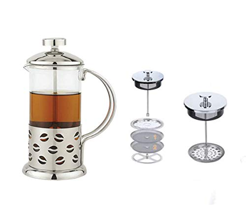 French Press Coffee Maker Stainless Steel 350 ML - Coffee Press with Stainless Steel Stand Precise Scale Easy to Clean Durable Heat Resistant Glass - Best Gift Idea