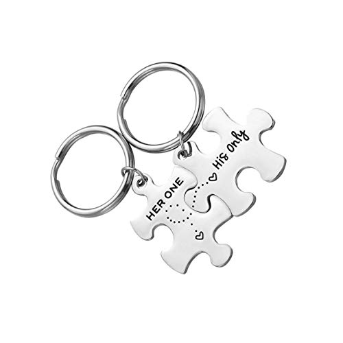 VICASKY 1 Pair Couple Keychain Set Stainless Steel Puzzle Keychains Gifts for Lovers Couples Newlyweds Valentines Day Wedding Anniversary