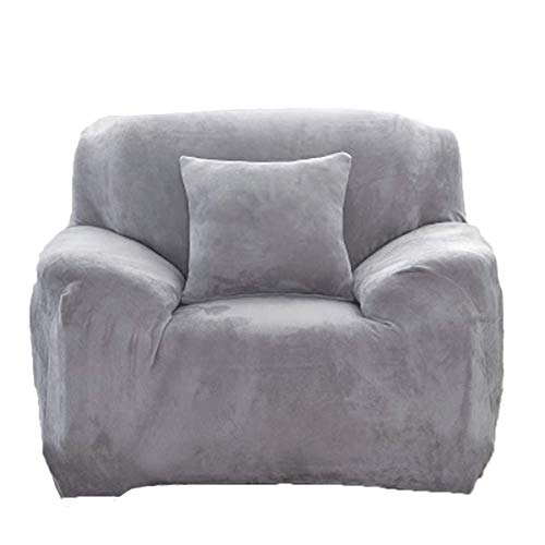 Thick Sofa Covers 1/2/3/4 Seater Pure Color Sofa Protector Velvet Easy Fit Elastic Fabric Stretch Couch Slipcover size 1 Seater:90-140cm (Light Gray)