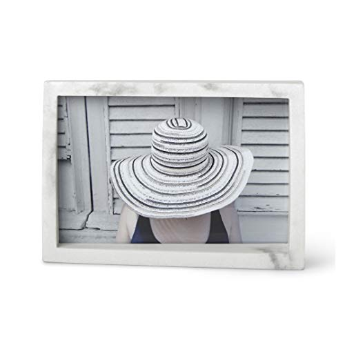 Umbra Edge Resin Picture Frame and Photo Display for Desk or Table Top, 4x6, White Marble