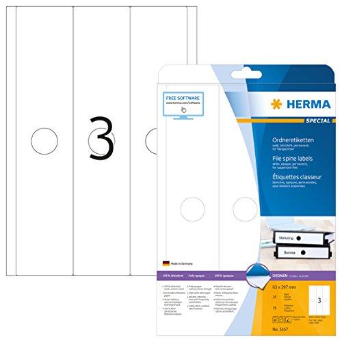 HERMA 5167 Hängeordner-Etiketten DIN A4 blickdicht, breit/lang (63 x 297 mm, 25 Blatt, Papier, matt) selbstklebend, bedruckbar, permanent haftende Ordneretiketten, 75 Rückenschilder, weiß