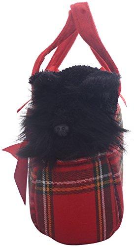 Aurora World 60328 - Fancy Pal Scottie, Scottisch Terrier in rood geruit tas met strik, 20,5 cm