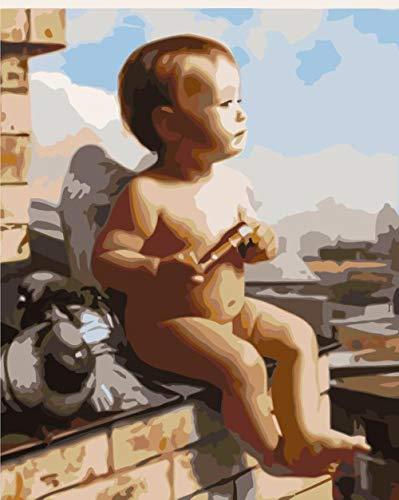 Pintar por Numeros Adultos Niños DIY Pintura por Números con Pinceles y Pinturas niñito 16X20 Pulgadas, Sin Marco