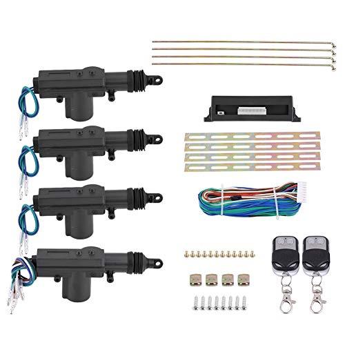 Cocoarm Zentralverriegelung Universal Auto KFZ Komplett Set 2 Funkfernbedienung 4 Stellmotoren 1 Türverriegelungsmodul