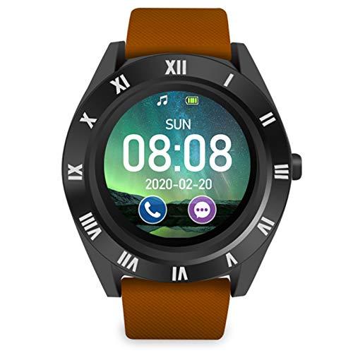 Souarts Fitness Armbanduhr Smartwatch Fitnessarmband Fitness Tracker für Damen Herren IOS Android Sportuhr mit Schrittzähler Pulsmesser (Kaffee)