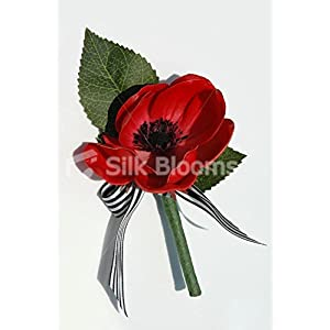 Real Touch Anemone Wedding Grooms Red Poppy Buttonhole