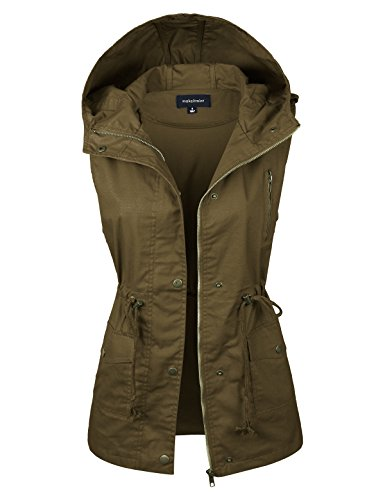 makeitmint Military Safari Jacket Vest- Women's Lightweight Cotton Sleeveless Loose Fit Hooded Cargo Utility Anorak Outerwear with Drawstrings, Pockets, Zip, Buttons in 9 Colors and Small to Plus Size
