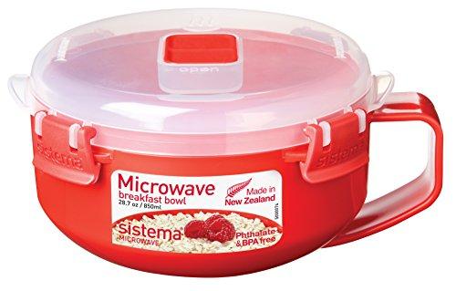 Sistema Tazón de avena de microondas rojo/transparente, 850 ml
