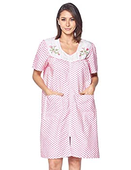 Casual Nights Women s Zipper Front House Dress Short Sleeves Embroidered Seersucker Housecoat Duster Lounger - Dots Pink - Large