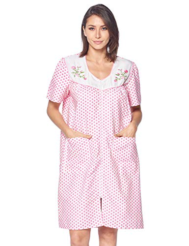 Casual Nights Women's Zipper Front House Dress Short Sleeves Duster Lounger Housecoat Robe, Dots Pink, Small