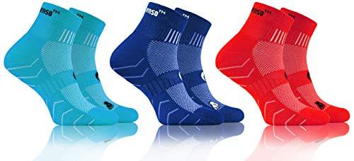 Sesto Senso Baumwolle Sportsocken Damen Herren Bunte Sport Socken 3-6 Paar Türkis Rot 39-42 3 Pack Blau