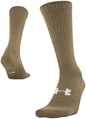Under Armour Adult Tactical HeatGear Boot Socks, 1-Pair , Coyote Brown/White , Shoe Size: Mens 8-12, Womens 9-12