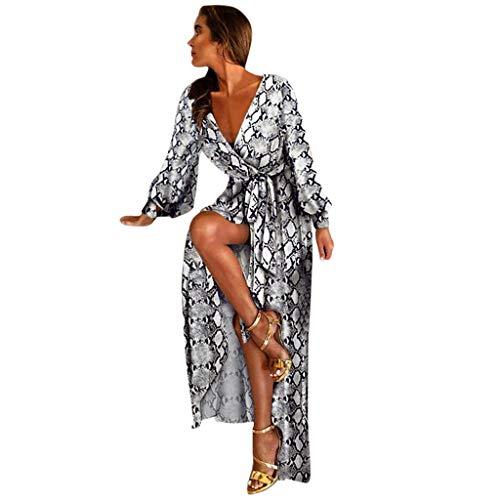 Canifon Damen Sexy Tiefer V-Ausschnitt Kleid Frauen Elegant Lange Ärmel Gedruckt Cocktail Abschlussball Kleid