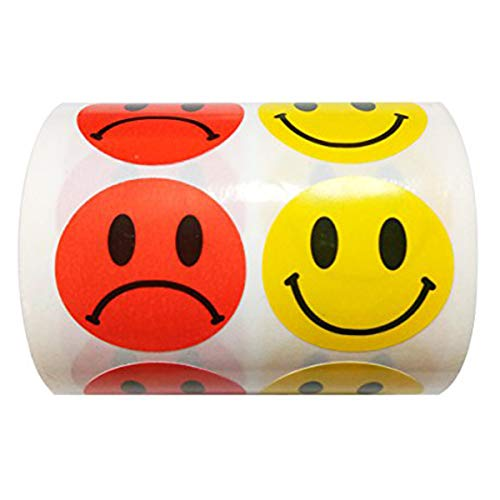Wootile Yellow Smiley Face Happy Stickers and Red Sad Frowny Face Stickers for Teachers 1 Inch Round Circle Dots 500 Labels Per Roll