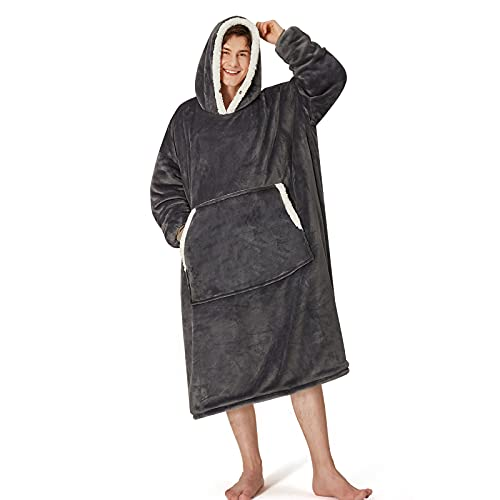 Yescool Oversized Wearable Blanket Hoodie, Flannel Sherpa Fleece Blanket Sweatshirt for Adults Women Men, Big Plush Cozy Hooded Blanket with Hood, Pocket & Sleeves, One Size Fits All (Grey)