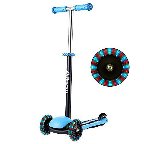 Albott Kinderroller LED 3 (DREI) Räder Kinder Scooter höhenverstellbarer 3 blinkenden LED Dreirad Rollen Tretroller Kickscooter Cityroller für Junge und Mädchen ab 3 Jahren