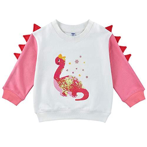 Sudadera de Dinosaurio para Bebé Niña - Pull-Over Camiseta de Manga Larga 100% algodón Lentejuela Reversible Ropa de Otoño(Blanco, 4 años)
