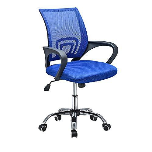 ANABELLA Silla de Oficina de Tela de Malla, con Reposabrazos, Rotación de 360°, Altura Ajustable, Silla de Oficina Ligera, Ergonómica, Adecuada para Oficina y Estudio, Azul