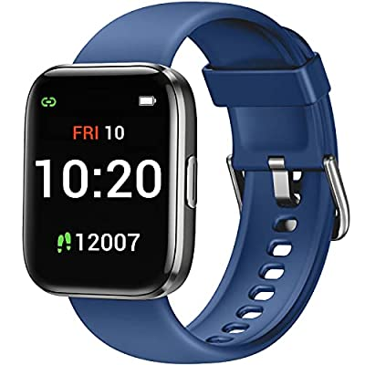 Letsfit Smart Watch for Android Phones Compatible with iPhone Samsung, Fitness Tracker with Blood Oxygen Saturation & Heart Rate Monitor, IP68 Waterproof Cardio Watch for Women Men, Dark Blue