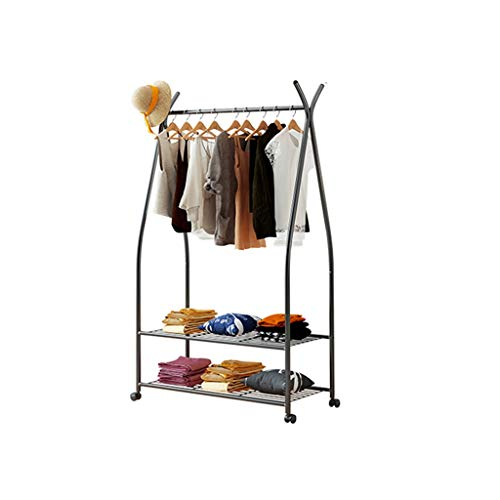 ZWD Eenvoudige Kapstok, Metal Horizontal Bar kledingrek Boutiques Tweedehands Shop Shelf Double Layer Schoenen Display Stand Jurken en hoeden Planken (Color : Black, Size : 172 * 90CM)