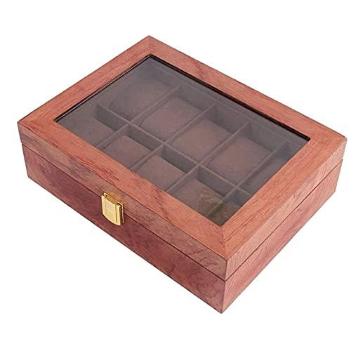 QRQFTNHB Reloj Organizador Cajas Joyas Cajas Men 10 Grids Reloj Cajas de Pantalla Sólido Madera Almacenamiento Organizador Cajas (Color : A)