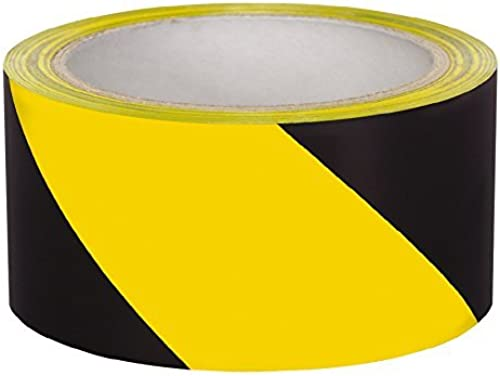 A Tech Black Yellow Zebra Floor Marking Tape 2 inches 48mm X 30 Meters Warning Tape Lane marking tape heavy duty tape Pack of 2
