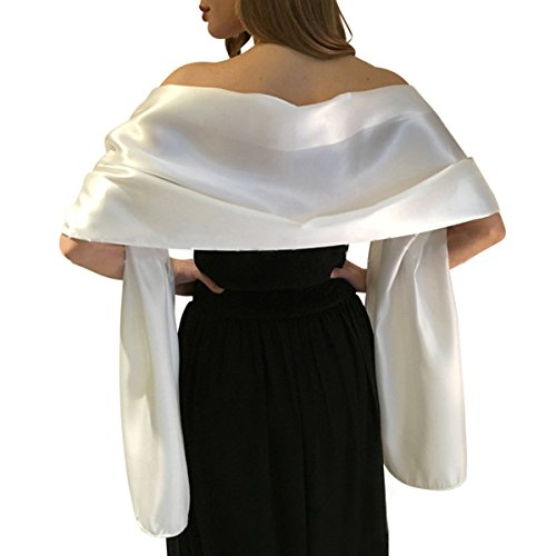 Satin Shawls and Wraps for Evening Dresses Bridal Party Special Occasion by Lansitina, Ivory, 95'L 26'W