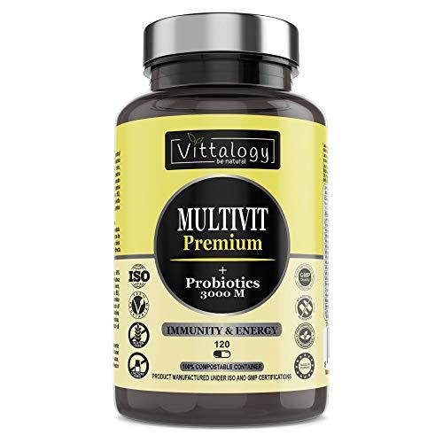 Vittalogy Multivit Premium. Multivitaminas Con Sales Minerales y Probióticos. Combate El Cansancio Y Aumenta Las Defensas. Hombre Y Mujer. Mejora En El Deporte Y Estudio. 120 Cápsulas.