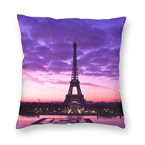Moily Fayshow Throw Pillow Cushion Cover Pillowcase Purple Eiffel Tower 40 X 40 Cm