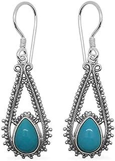 8a5539c5b Dangle Earrings, Pear Turquoise Earrings, Drop Earrings, Color Gemstone  Silver Earrings for Women