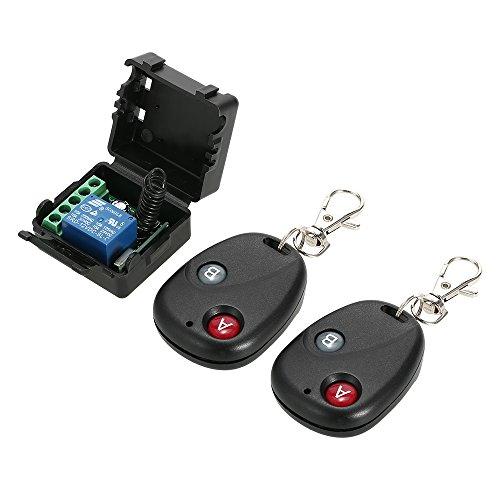 OWSOO Universal 12 V Fernbedienung Schalter Smart Home Empfänger Sender 433 MHz DC 1CH Drahtlose Fernschalter Relais Modul und RF Sender Fernbedienungen 1527, 2 Stücke
