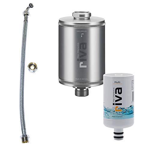 riva Filter | Trinkwasser Filter-Set Multi | WASSERHAHNFILTER - Zertifizierter Schutz vor Legionellen, Bakterien und Keimen in Küche Bad | Inkl. flexiblen Schauchanschluss-Set | Silber