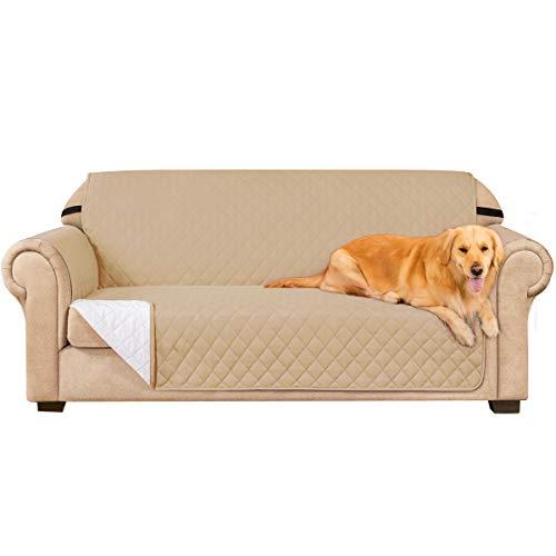 subrtex Gesteppt Sofabezug Reversibel Möbelschutz mit Gummiband (2 Sitzer, Sand)