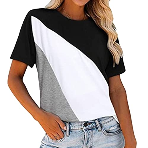 Camiseta a rayas para mujer, manga corta, cuello redondo, bloques de color, empalme, blusas, camisas de manga corta, camiseta, blusas de túnica jerséis para mujer, tops, cuello redondo, jersey