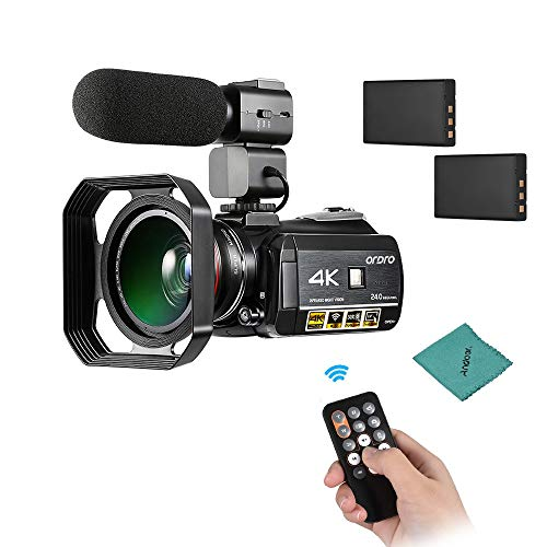 ORDRO AC3 4K WiFi Digital Videokamera Camcorder 24MP 30X Zoom IR Nachtsicht 3,1 Zoll IPS-LCD-Touchscreen mit Weitwinkelobjektiv 0.39X Mikrofon Sonnenblende