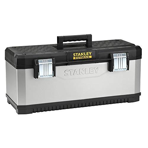 """Stanley FatMax Werkzeugbox / Werkzeugkoffer (26"""", 66x29x30cm, herausnehmbare Trage, stabiler Koffer mit Aussparung, Werkzeugkasten mit Bi-Material Griff und FatMax-Logo) 1-95-617"""