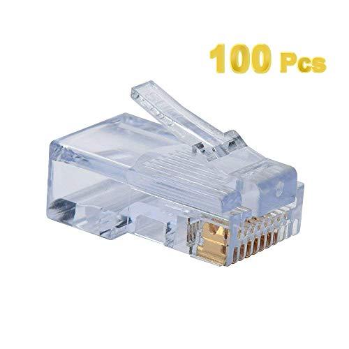 ElementDigital 100pcs RJ45 Plug Cat5E Cat5 Rj-45 Lan Connector Crystal Head Network (White)