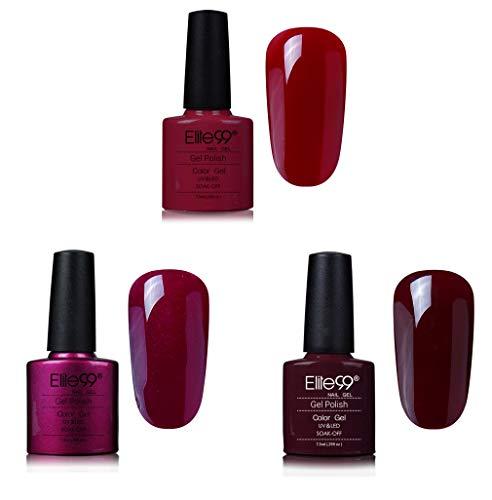 Elite99 Shellac UV LED Gel auflösbarer Nagellack 7.3ml 3 Farben Rot, Nagelgel Farbgel Farblack (3 x 7.3ml)