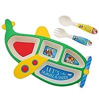 YSY-CY 漫画弁当ランチボックス、子供のためのスプーン&フォークで航空機食品保存、再利用可能な健康なベビーフードサプリメントコンテナボックスを分割 外出/作業に適して (Color : Green)
