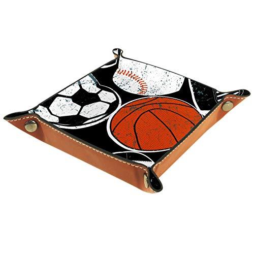 YATELI Caja de Almacenamiento pequeña, Bandeja de Valet para Hombre,Pelota Baloncesto Béisbol Fútbol,Organizador de Cuero para Llaves de Caja de Monedas